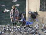 Rome - Woman - Pigeons