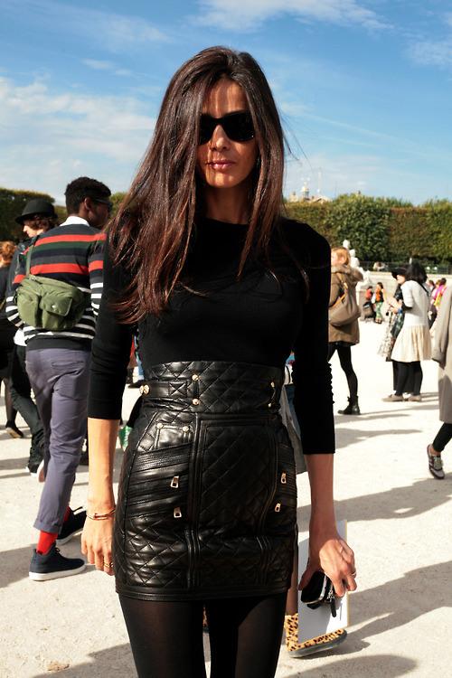 Barbara-Martelo-street-style-spring-2013-fashion-week-balmain-black-leather-mini-skirt