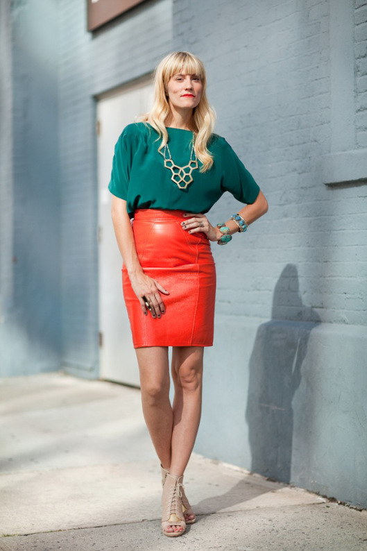 The leather skirt |