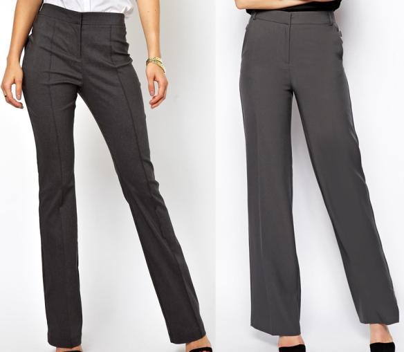 сив панталон, панталон с ръб, панталон с вертикални джобове